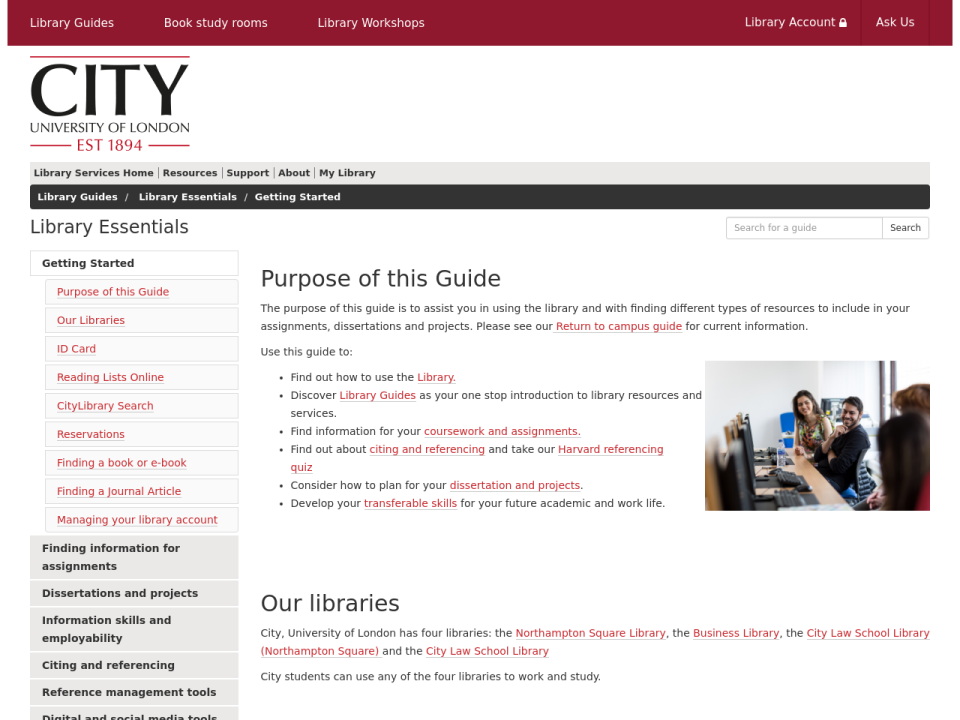 A screenshot of the Library Essentials Guide: Getting Started homepage